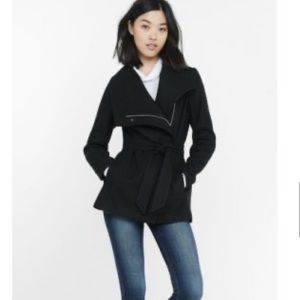 Express Black Wool Belted Peacoat